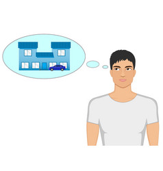 cartoon guy dreaming of a house and a car vector image vector image