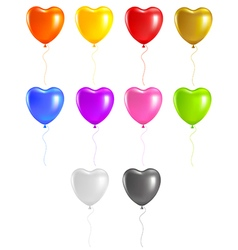 Colored heart balloons vector image vector image