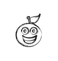 Contour kawaii fruit orange happy icon vector