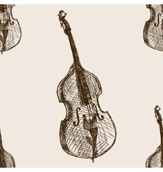 Contrabass sketch seamless pattern vector image
