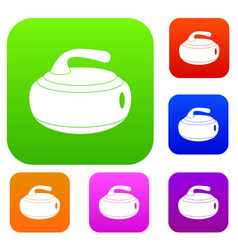Curling stone set color collection vector