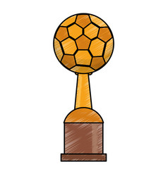 Drawing soccer winner cup prize vector