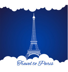 Eiffel tower with clouds vector