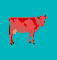 flat shading style icon cow vector image vector image