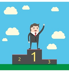 Happy businessman on podium vector image vector image