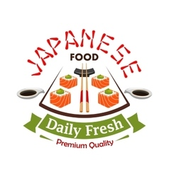 Japanese daily fresh food label emblem vector