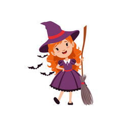 Joyful red-haired girl witch standing with broom vector
