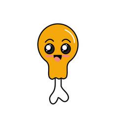 Kawaii cute happy thigh chicken vector