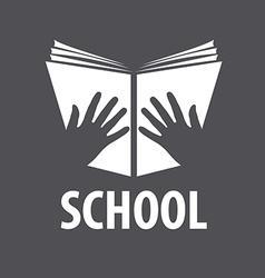 logo open book in his hands vector image vector image