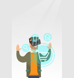 Man in virtual reality headset shopping online vector