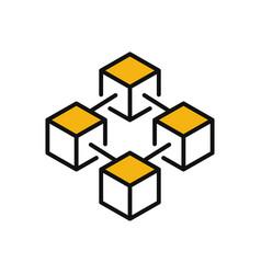 Modern blockchain technology icon or logo vector