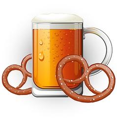 Mug of beer with pretzels Oktoberfest vector image