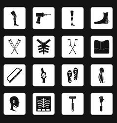 Orthopedics prosthetics icons set squares vector