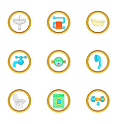Plumbing work icons set cartoon style vector