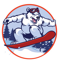 Polar bear with snowboard vector