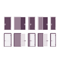 set of doors in white and black vector image vector image