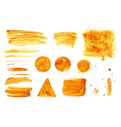 Smears gold paint and texture objects vector