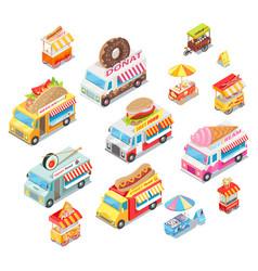 street food eateries on wheel isometric set vector image