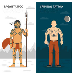 tattoo studio vertical banner set vector image vector image