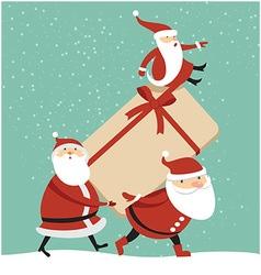 Three santas with huge gift box vector