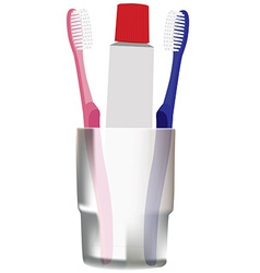 Toothbrushes and toothpaste vector image vector image