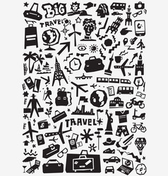 travel transportation doodles vector image vector image