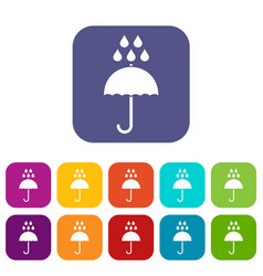 Umbrella and rain drops icons set vector