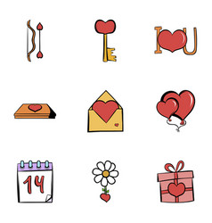 Valentine day icons set cartoon style vector