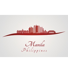 Manila skyline in red vector