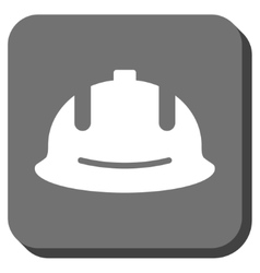 Construction helmet rounded square icon vector