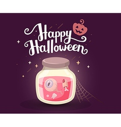Halloween of decorative jar with tooth eye vector