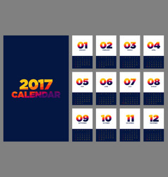 Calendar 2017 flat design for a year vector
