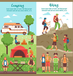 hiking group vertical banners vector image