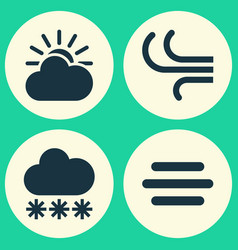 Meteorology icons set collection of breeze snowy vector