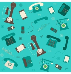 retro and modern telephones background vector image