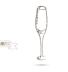 Sketch of Wine Glass Isolated On The White vector image