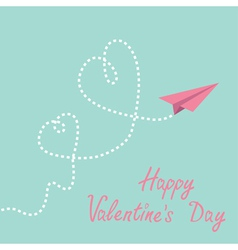 Origami paper plane two dash heart valentines day vector