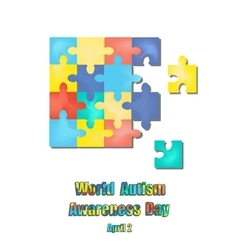 2 april as world autism day color puzzles vector