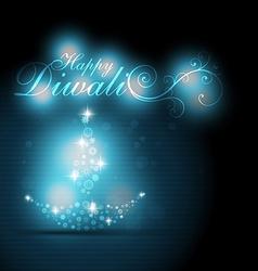 glowing diwali diya vector image