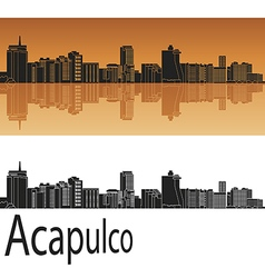 Acapulco skyline in orange vector
