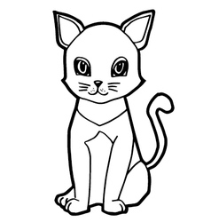 Cute cat isolated on white vector