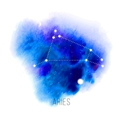 Astrology sign aries on watercolor background vector