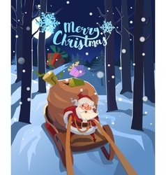 Santa claus in a sleigh with presents in a hurry vector