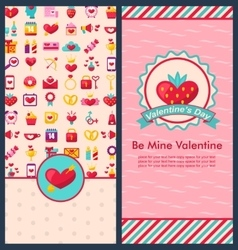 Set beautiful vertical banners for happy valentine vector