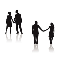 Couples holding hands silhouette vector
