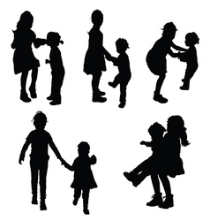 Children funny silhouette vector