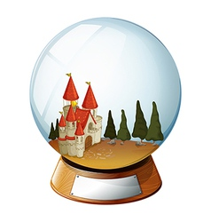 A castle with pine trees inside a dome vector