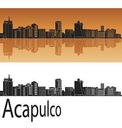 Acapulco skyline in orange vector