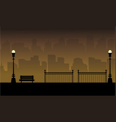 Beauty landscape chair with fence silhouettes vector