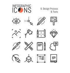 Bundle of minimal thin line icons design process vector